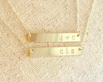 Gold Bar Initial Necklace, Gold Nameplate Necklace, Silver Nameplate Necklace,Personalized Bar Jewelry, Bridesmaid Gift, Wedding Gift
