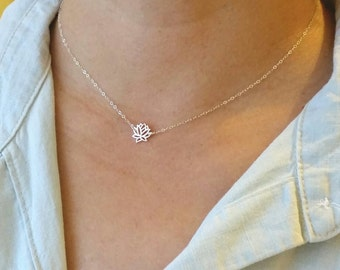 Tiny Sterling Silver Lotus Flower Necklace or Choker, Tiny Rose Gold Lotus Flower Necklace or Choker