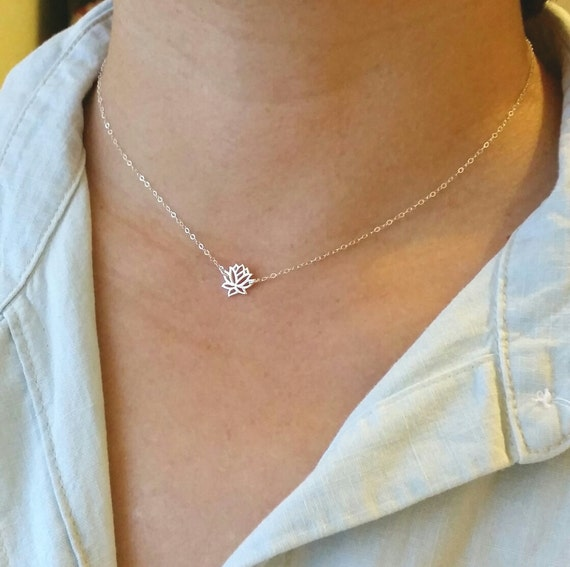 Tiny Sterling Silver Lotus Flower Necklace Or Choker Tiny Etsy