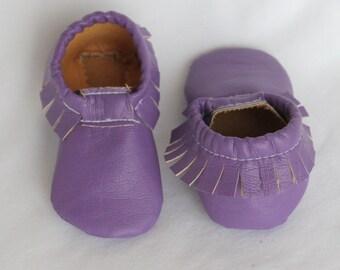 Purple Faux Leather Pleather Moccasins, Moccs, Shoes
