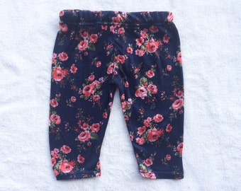 SALE Navy, Pink, Floral, Flower, Baby Girl, Knit Leggings Pants