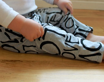 SALE Gray, Grey and Black LOVE Baby Toddler Knit Leggings Pants