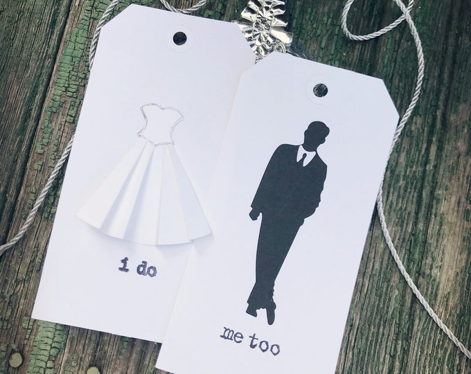 Wedding Gift Tags, Bride and Groom, Wedding Candy Bar Tags, Black and White, Silhouette, Modern, Gifts, Mod Groom Suit, Bridal Dress