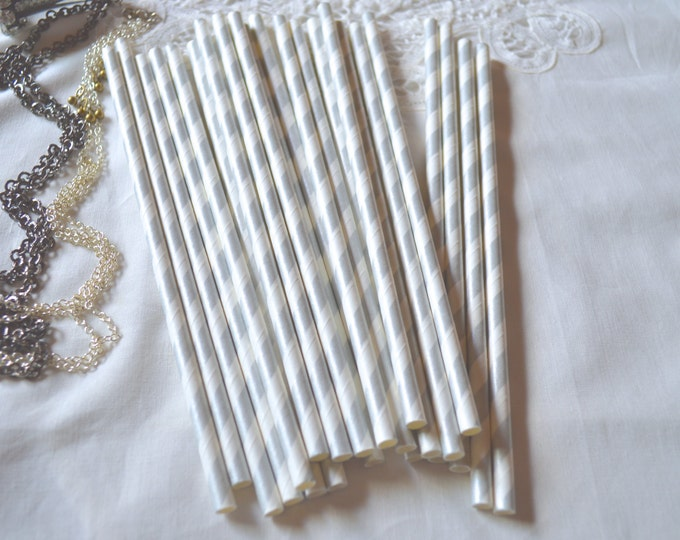 Vintage Paper Straws, Silver Stripe Paper Straws, Wedding, Bridal Shower,Princess Party, Cake Pop Sticks,  25th Anniversary 25 straws