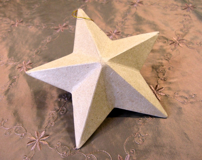 Paper Mache Star Ornament You Imagine, You Design, Craft Supplies, Large 8""