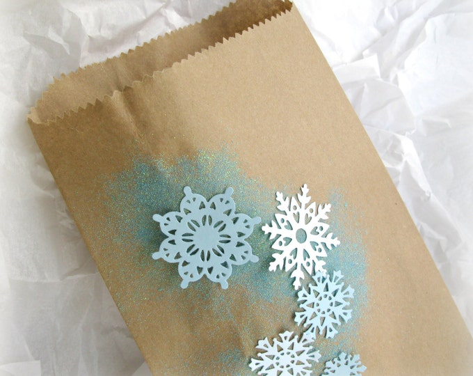 Frozen Favor Bags, Paper Snowflakes, Icy, Glittery, Frozen, Elsa Party, Kraft Candy Bags
