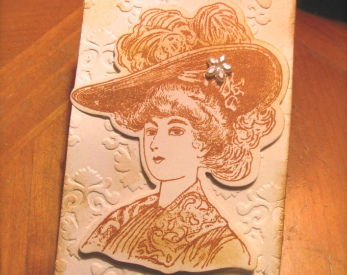 Large Gift Tags, Gibson Girl, Hand Stamped, Sepia Embossed Paper, Wedding Tags, Vintage Victorian, Steampunk Look, Bridal Shower Tags