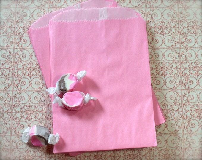 Pink Kraft Paper Bags, Glassine Lined, Favors, Wedding, Candy or Treats, Merchandise Bags 10 bags