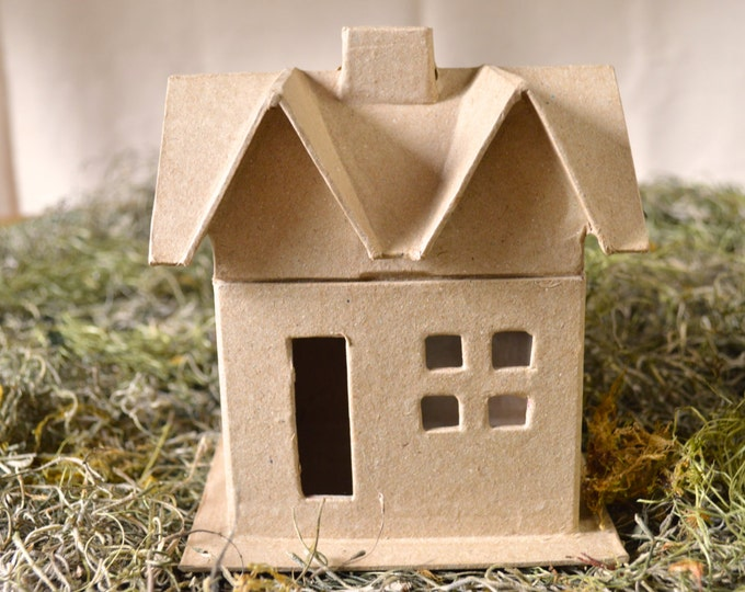 Paper Mache House, Gable Roof with Windows-You Imagine, You Design, Craft Supplies