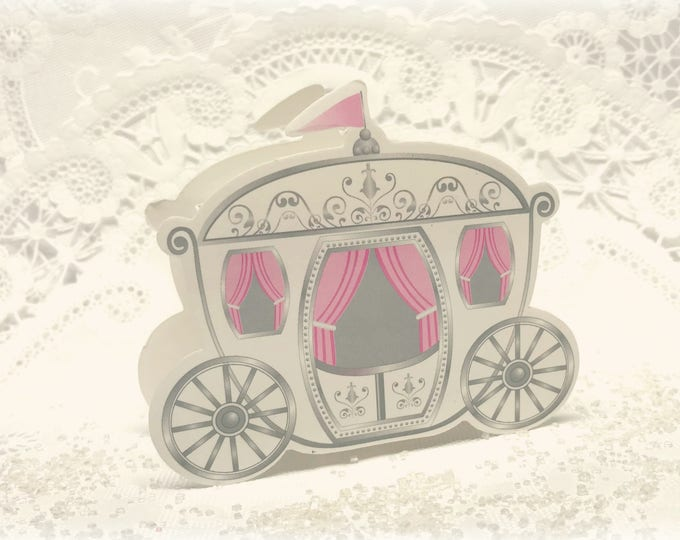 Baby Favor Boxes, Cinderella Carriage, Party Favor Boxes, Pink and White, Little Girl, Baby Shower, Baby Trinket, Candy Box set of 10
