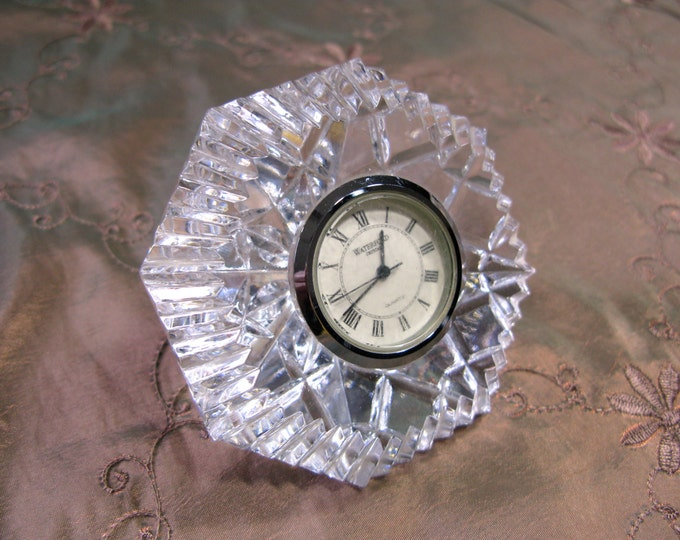 Waterford Crystal Diamond Paperweight Clock, Vintage, Nightstand Clock, Free Shipping
