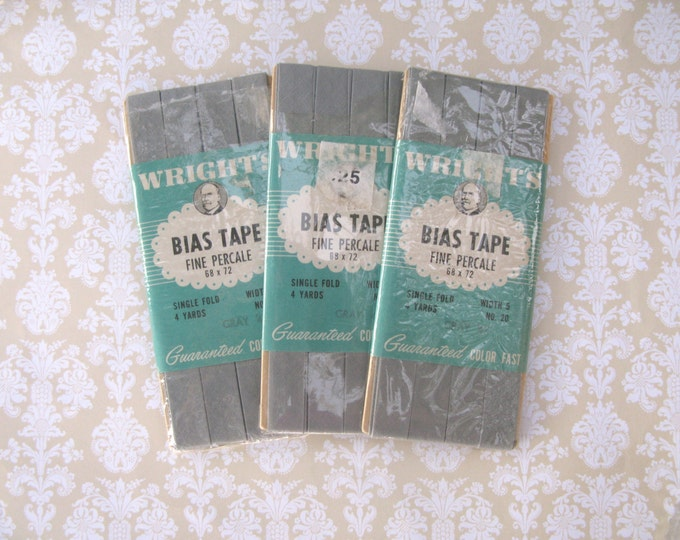 Vintage Wright's Bias Tape, Grey, 1950's, Sewing Collection, Sewing Supplies, 3 packages