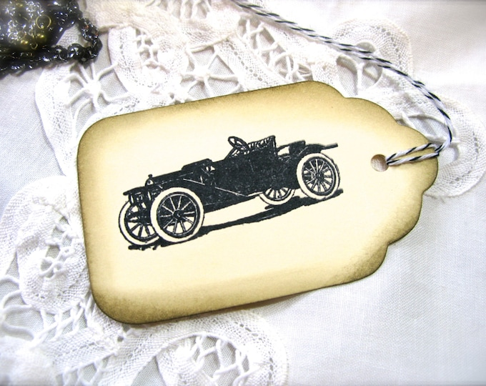 Vintage Roadster Car Gift Tags, Hand Stamped, Vintage Look, Aged, Guys Gifts, Etsy Dudes, Wishing Tree Cards, Tags, 6 Tags
