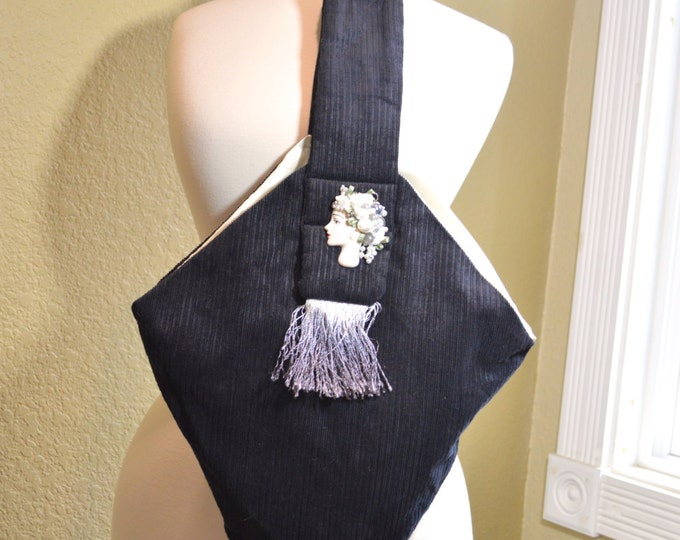 Handmade Black Corduroy Purse, Vintage Evening Bag, Art Deco Embellished Ladies Porcelain Face, Hand Dyed Fringe, Ombre