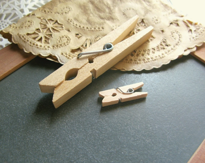 "Ultra Mini Clothespins, 1"" Mini Wood Clothes Pins, Wedding Favor Pins, Craft Clothespins, DIY Wedding, set of 25"