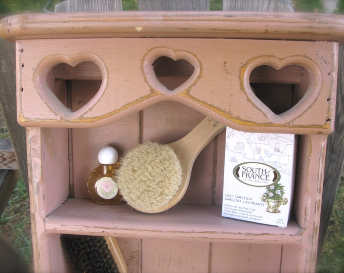 Pink Country Wood Shelf, Vintage 1980's with Hearts, 3 Shelves and Towel Bar, Shabby Decor, Cottage