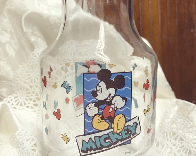 Vintage Mickey Mouse Juice Pitcher, Minnie Mouse, Anchor Hocking, 1990's, Glass Carafe, Disney Collectable