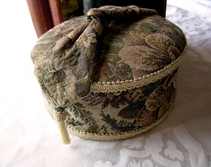 Vintage Tapestry Box, Decor, Storage, Jewlery, Trinkets, Handmade Round Padded Satin Lined, Shabby Chic, Cottage Style