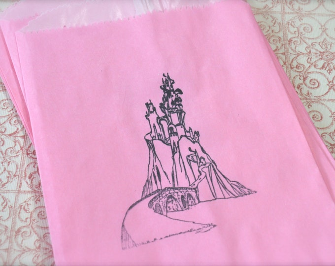 Fairytale Castle, Pink Stamped Kraft Paper Bags, Glassine Lined, Princess Favors, Wedding, Candy or Treats, Merchandise Bags 10 bags
