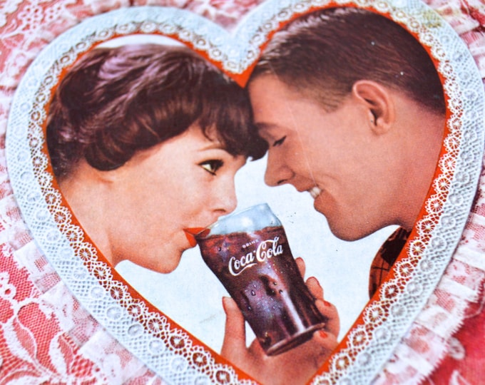 1960 Coca Cola Advertisement, Heart and Couple, Magazine page, Ephemera Mid Century
