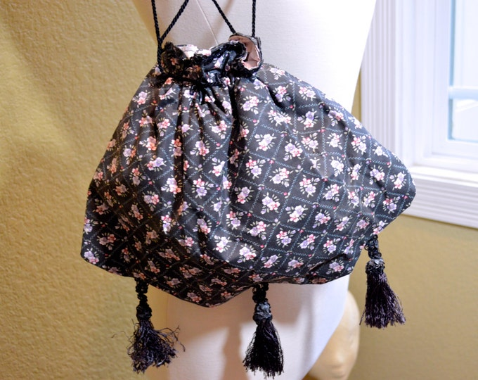 Vintage Black Purse, Floral,Handmade,Tassel Detail,Fully Lined, Steampunk, BoHo,Hippie, Free Shipping