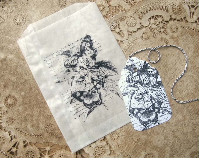 French Butterfly Glassine Bags and Gift Tag Set, Favor Bags, Wedding Candy Bar, 10 each