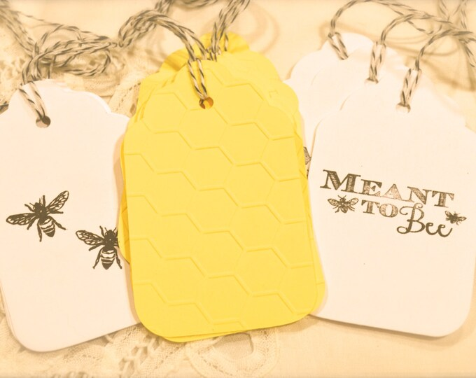 Meant To Bee, Gift Tags, Honey Comb, Honey Bee, Wine Charms, Wedding Favor Tags, Escort Cards, Wish Tree Cards, Bridal Shower Tags, 12 Tags