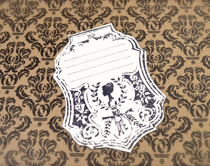 Silhouette Gift Tags, Vintage Style, Hand Stamped Favor Tags, Romantic, Victorian, 6 Tags