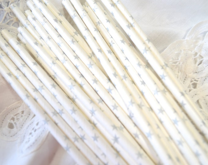 Silver Stars Paper Straws, Wedding, Bridal Shower, Princess Party,Vintage Paper Straws, 25th Anniversary, Cake Pop Sticks 25 straws