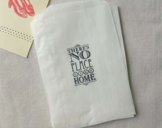 Stamped Glassine There's no Place Like Home, Favor Bags, Wedding Candy Bar, Etsy Merchandise Bags, 10 bags