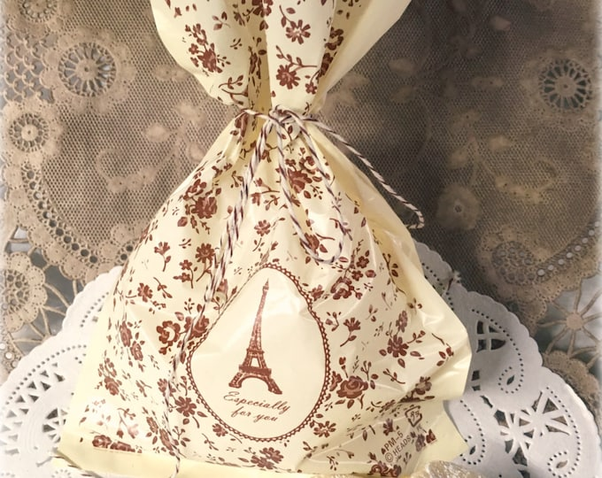 Eiffel Tower Gift Bag, Brown Floral, French Design, French Wedding, Favor Bags, Treat Bags, Candy Bags, Vintage Style Candy Bar, 10 bags