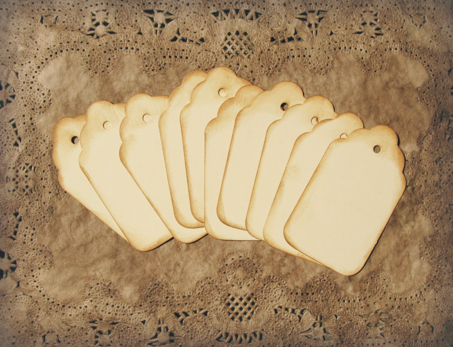 Hand Aged Gift Tags Scalloped Top Ivory Wine Charms Wedding Favor