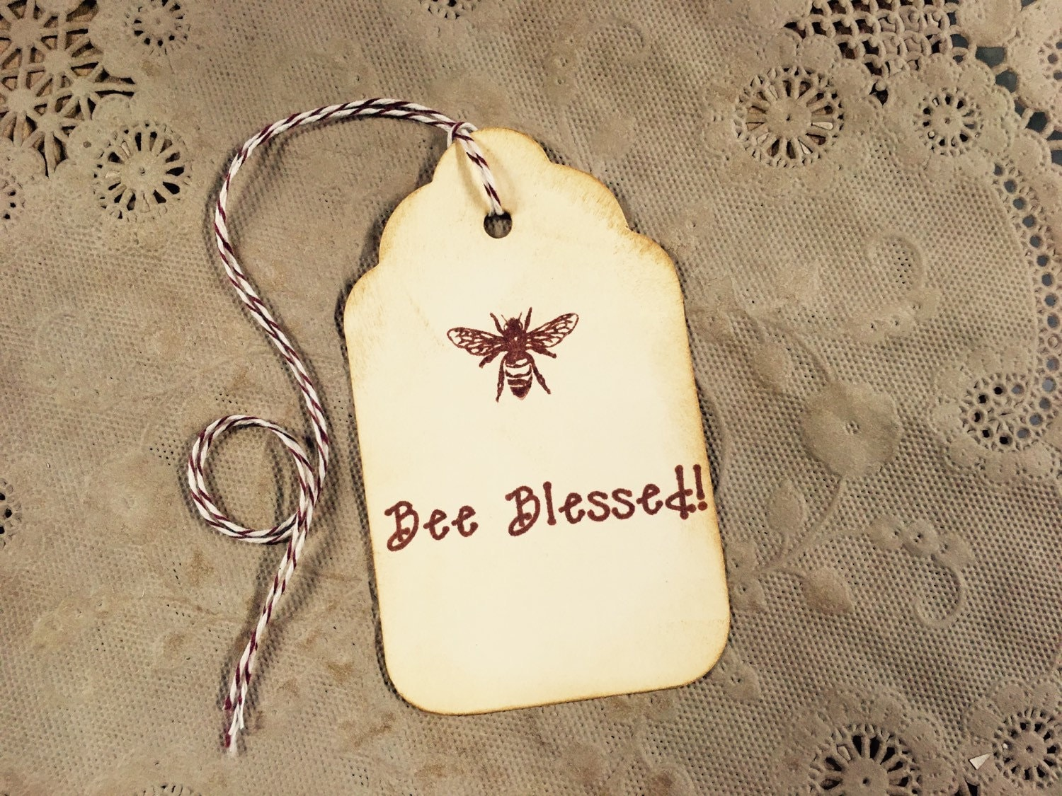 Bee Blessed Sepia Gift Tags Honey Bee Wine Charms Wedding Favor