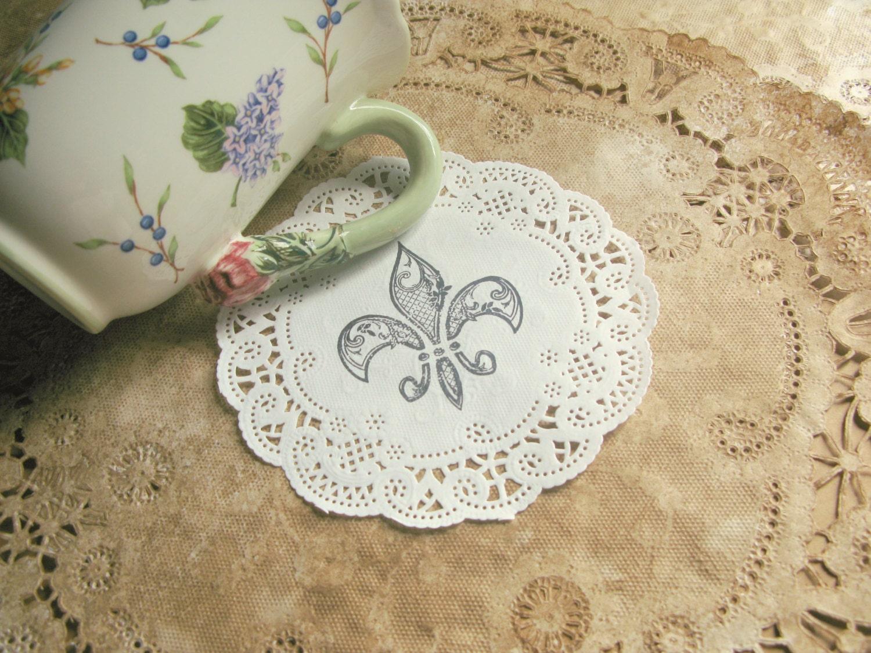 Fleur De Lis Paper Doilies 5 Lace Doily Coasters Party Doyleys Decor Hand Stamped French Market Wedding Gift Wrap Set Of 10