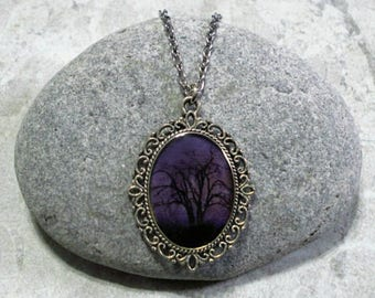 Purple Sky Necklace Tree Pendant Jewelry