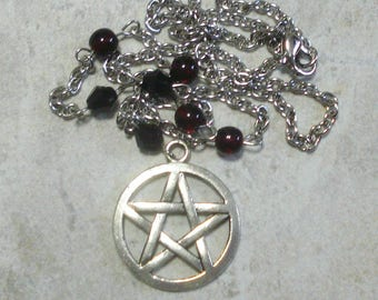 Pentagram Necklace Pentacle Dark Garnet Red And Black