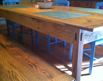 76e7cc98405ae Reclaimed Oak Barn Wood Farmhouse Table with Bench  Made to Order