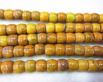 Yellow Drum Barrel Japser Natural Genuine Loose Beads 7x8mm/8x10mm/10x12mm/10x14mm 15 inches length, 38 cm - Wholesale