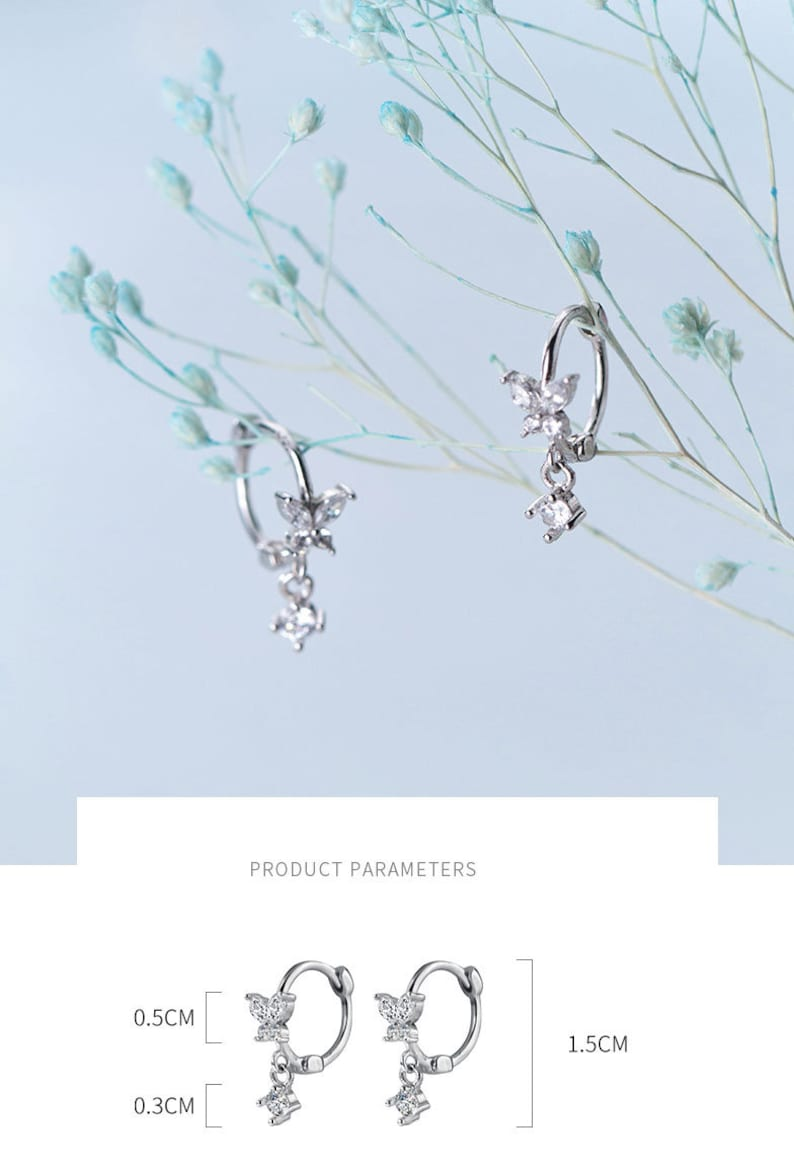 Stylish Simple Ear Stud Butterfly Zirconia Inlays 925 Sterling Silver Earrings Girl Ear Ornaments TheTasteStyle Jewelry Supply