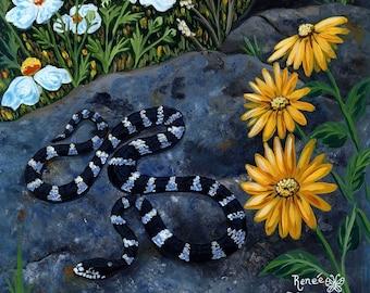 California Kingsnake, PAINTING - snake, kingsnake, wildlife, California wildlife, landscape, wild animal