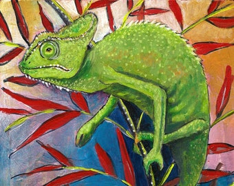 Sunbathing, PAINTING - chameleon, reptile art, lizard painting, wildlife, animal art, green, red