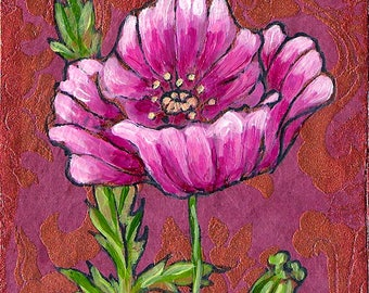 Baroque Poppy, GREETING CARD - baroque print, pink poppy, flower art, flower painting poppies