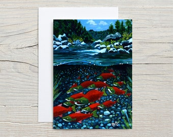 Sockeye Salmon, GREETING CARD - California wildlife, wildlife, salmon, fish art, California landscape, river painting, fish art