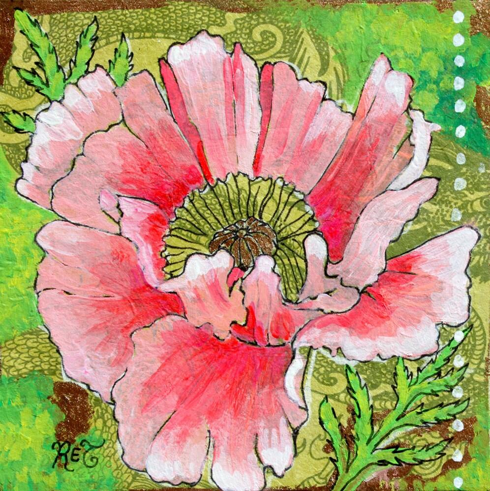 Pink Poppy 8 By 8 Print Poppy Art Poppy Etsy