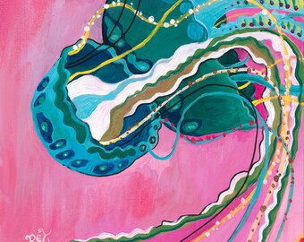 Pink Jellyfish, Greeting Card - jelly fish, jellyfish art, jellyfish painting, pink, turquoise, green, sea life, abstract jellyfish art