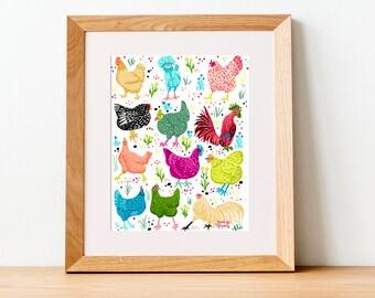 Chicken Scratch, PRINT - farm animals, chicken art, illustration, farm art