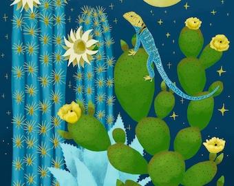 Cactus garden PRINT - Agave cactus, prickly pear cactus, blue torch cactus, lizard, desert garden