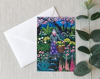 Ode To Tash, GREETING CARD - wise crone, garden flowers, garden art, flower garden, gardener