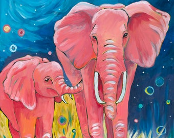 "Motherly Love, 11"" by 14"" PRINT - elephants, African animals, mother & child art, love, baby animals"