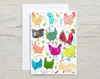 Chicken Scratch, GREETING CARD - farm animals, chickens, bird art, chicken illustration, farm life